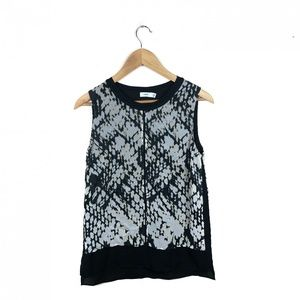 Vince XS sleeveless blouse silk black and gray